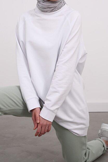 Ekrumoda Kadın Beyaz Reglan Kol Basic Sweat Tunik