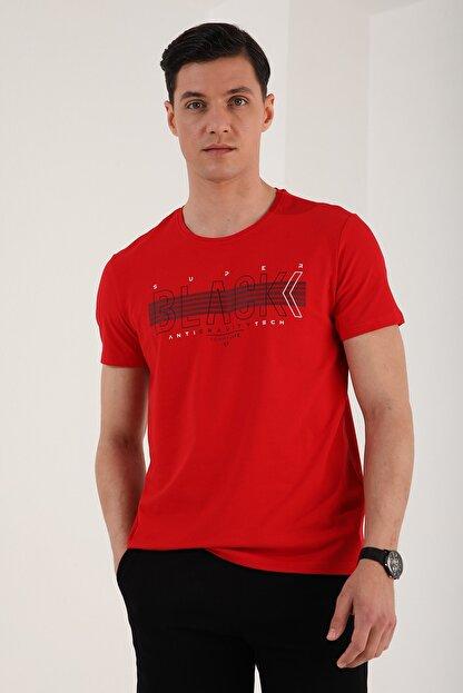Tommy Life Erkek Kırmızı Black Yazı Baskılı Rahat Kalıp O Yaka T-shirt - 87954
