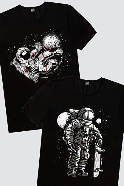 Rock & Roll Erkek Siyah Kaykaycı Astronot,  Siyah Futbolcu Astronot 2'li Eko Paket T-shirt