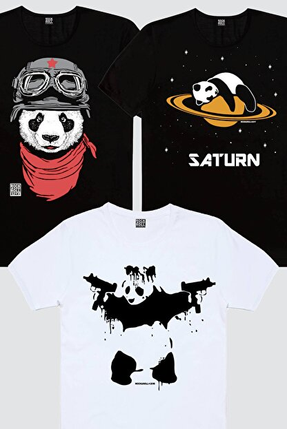 Rock & Roll Erkek Siyah Bandanalı Panda, Siyah Satürnde Panda, Beyaz Uzi Panda 3'lü Eko Paket T-shirt