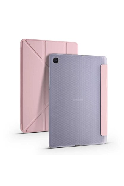 Samsung Galaxy Tab S6 Lite P610 10.4 Inç Tri Folding Rose Gold Tablet Kılıfı