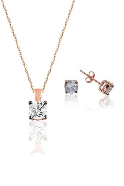 Söğütlü Silver Gümüş rose kolye ve küpe gümüş set