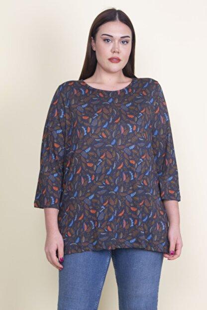 Şans Kadın Lacivert Viskon Çiçekli Bluz 65N21053-1