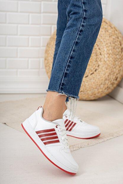 Moda Değirmeni Beyaz Kırmızı Kadın Sneaker Md1053-101-0002