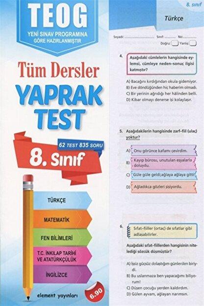 Element Yayınları Element 8. Sınıf Tüm Dersler Yaprak Test (teog)