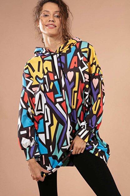 Pattaya Kadın Grafik Desenli Kapşonlu Oversize Sweatshirt Y20w110-4125-28