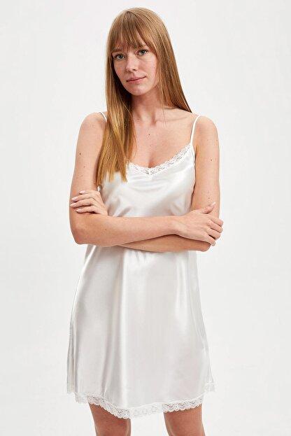 Defacto Fit Kadın Whıte (000) Bride Askılı Dokuma Saten Elbise R3465AZ20AU