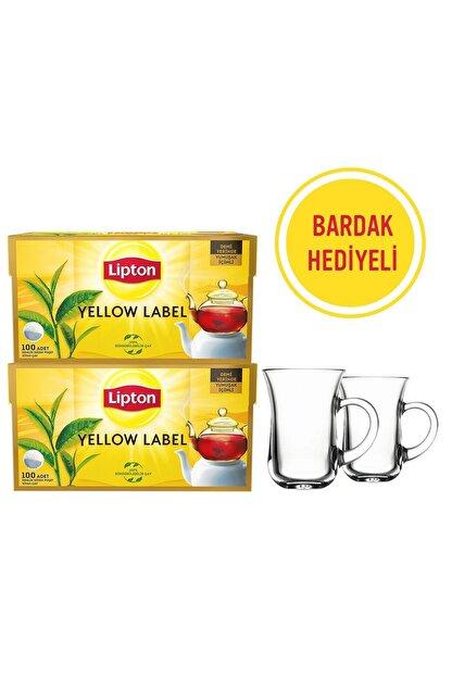 Lipton Yellow Label Demlik Poşet Çay 100'lü X 2 Adet + 2'li Bardak Hediyeli