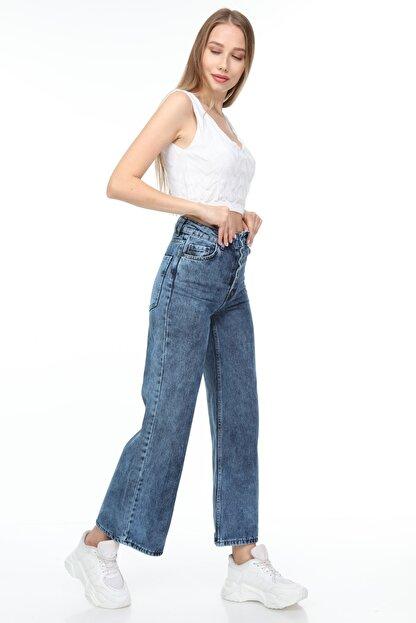 Sismo Butik Kadın Bol Paça Kot Pantolon Wide Leg Jeans