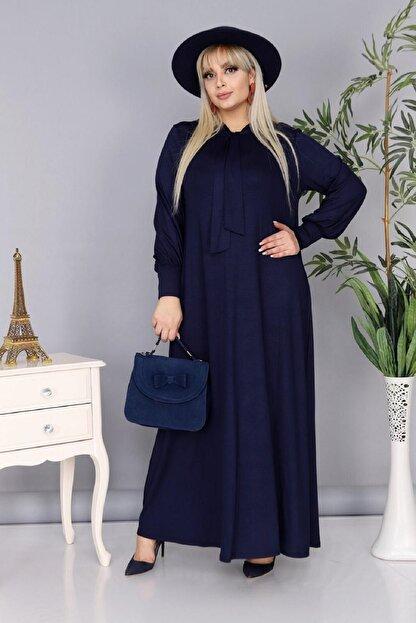 Şirin Butik Kadın Büyük Beden Lacivert Renk Kravat Yaka Detaylı Viskon Elbise