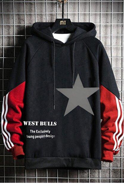 WEST BULLS Star Unisex Siyah Kapüşonlu Baskılı Sweatshirt