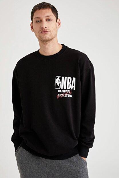 Defacto Fit Erkek Black Red Nba Lisanslı Oversize Fit Sırtı Baskılı Sweatshirt T6213AZ20CW