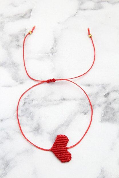 Pelin Aksesuar Kadın Kırmızı Makrame Kalp Bileklik Halhal