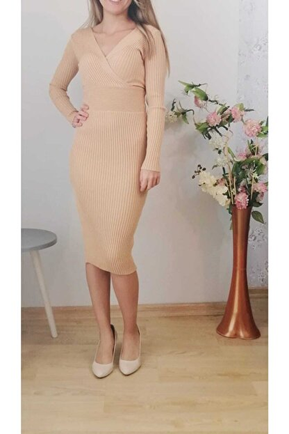 MERİ FASHİON Kadın Vizon V Yaka  Triko Elbise