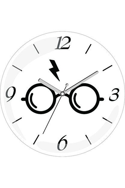 3M Siyah Beyaz Harry Potter Gözlük Bombeli Gerçek Cam Duvar Saati