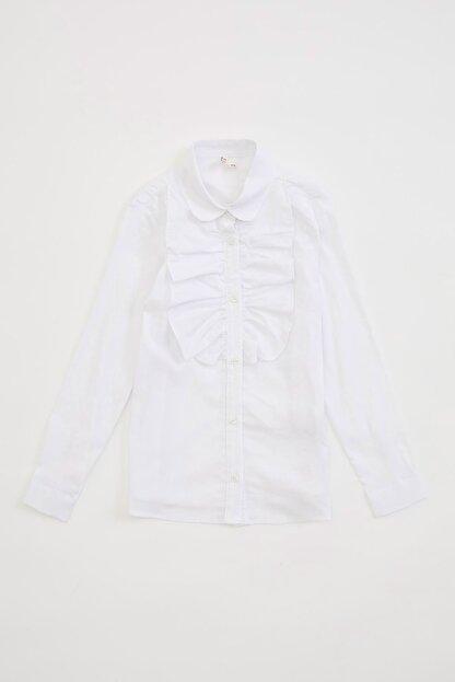 Defacto Yakası Fırfır Detaylı Uzun Kollu Gömlek