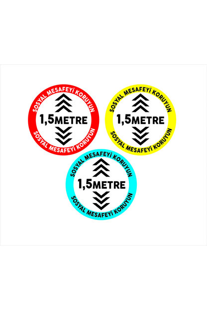 AKTİF AJANS Sosyal Mesafe Zemin Etiket Sticker, Zemin, Folyo Set Daire 3 Lü Set