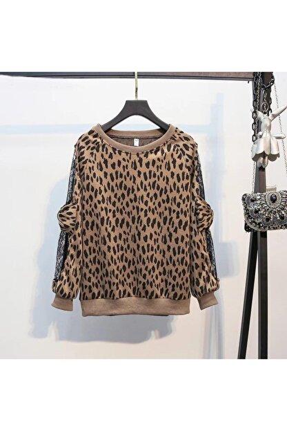 ELBİSENN Kadın Kahverengi Leopar Desen Kolları Tül Üzeri Fiyonk Detay Bluz