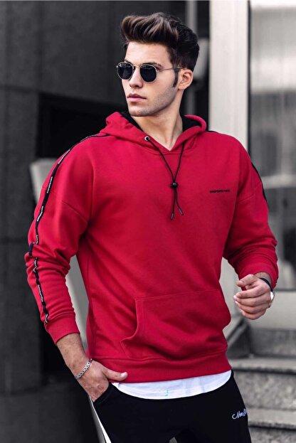 Madmext Erkek Kırmızı Kapüşonlu Sweatshirt 4721