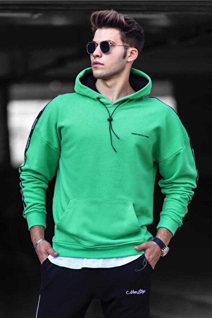 Madmext Erkek Yeşil Basic Kapüşonlu Sweatshirt 4721