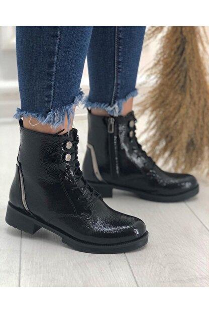 KADIOĞLU Ayakkabı Kadın Siyah Gündelik Kullanım Suni Deri Tarz Postal Bot