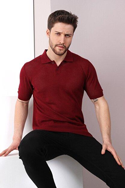 Ferraro Erkek   Bordo Polo Yaka Düğmeli  Pamuk Triko T-Shirt