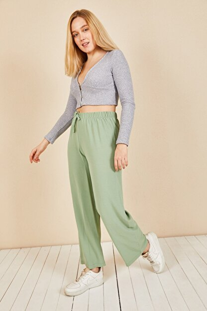 Moda Bu Kadın Mint Beli Lastikli Bol Paça Salaş Yazlık Pantolon Aerobin-865829