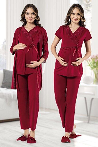 MODAREYA Sabahlıklı Kısa Kollu Lohusa Hamile Bayan Üçlü Pijama Takımı