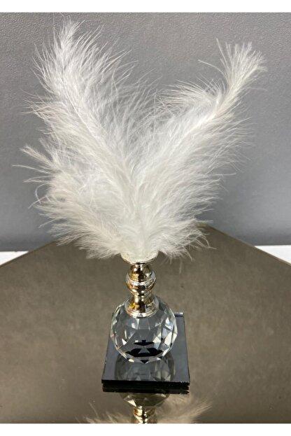 kytasarim Beyaz Tüylü Gümüş Kristal Top Tüylük Dekor