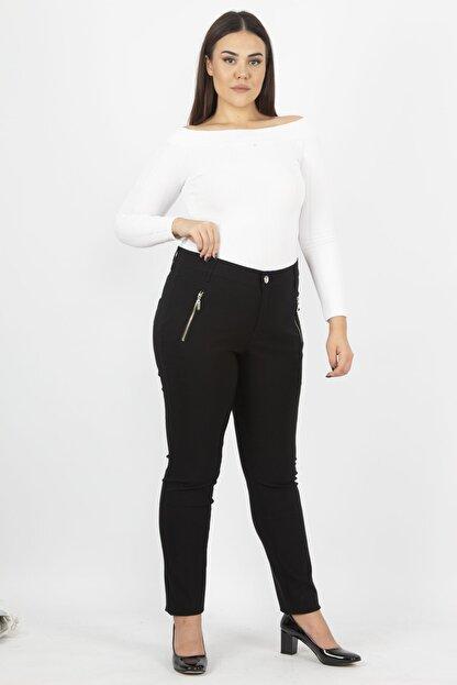 Şans Kadın Siyah Fermuar Detaylı Pantolon 65N20932
