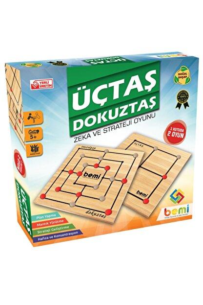 Bemi Toys Ahşap Üçtaş Dokuztaş  Zeka ve Strateji Oyunu