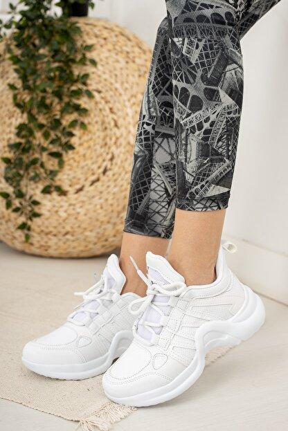 Moda Değirmeni Beyaz Kadın Sneaker Md1054-101-0001