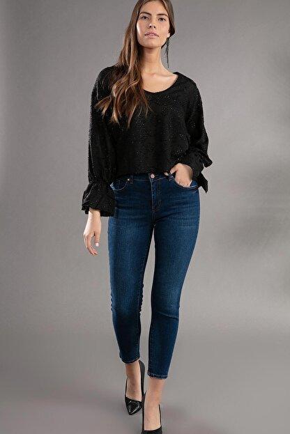 Pattaya Kadın Basic Yüksek Bel Dar Kesim Jeans Pantolon 10270