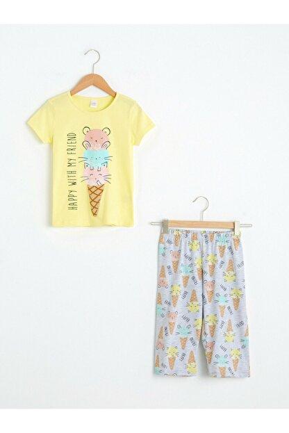 LC Waikiki Kız Çocuk Sarı Pijama Takımı