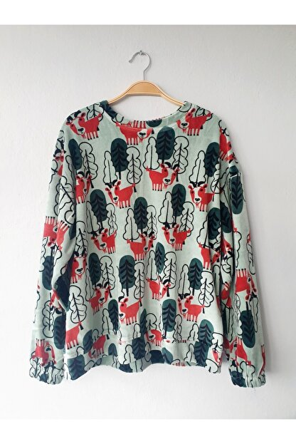 Gogoandy Yeşil Kadife Sweatshirt