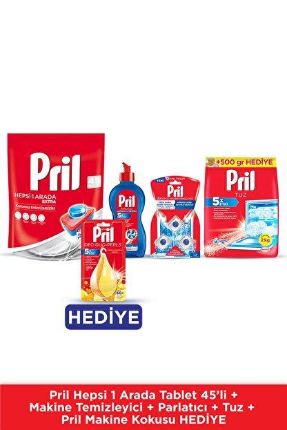 Pril H1a Extra 45 Tablet+parlatıcı 500 Ml+ Makine Temizleyici 3'lü+ 2kg Tuz+makine Kokusu Hediye
