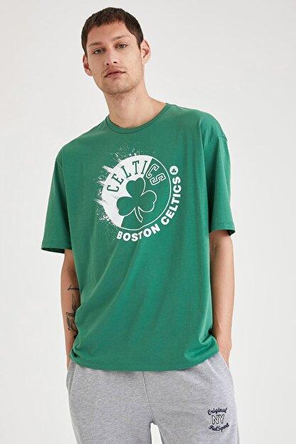Defacto Fit Erkek Green Nba Lisanslı Oversize Fit Pamuklu Tişört T6199AZ20CW