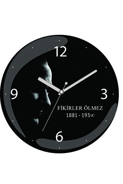 3M Atatürk Fikirler Ölmez Sessiz Akar Bombeli Gerçek Cam Duvar Saati