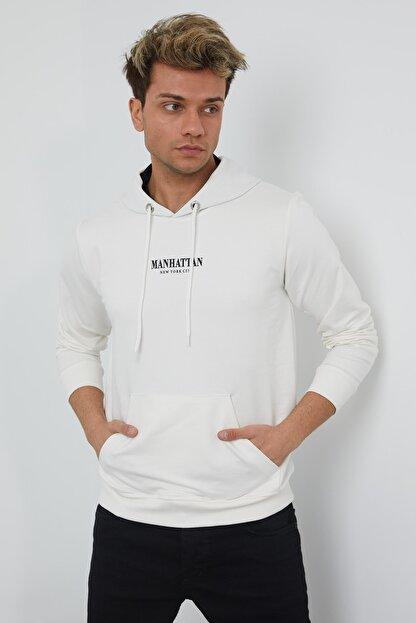 MRS CLOTHING Erkek Beyaz Baskılı Kapüşonlu İnce Sweatshirt