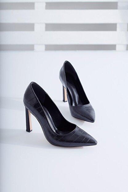 Limoya Kadın Siyah Kroko İnce Topuklu Stiletto