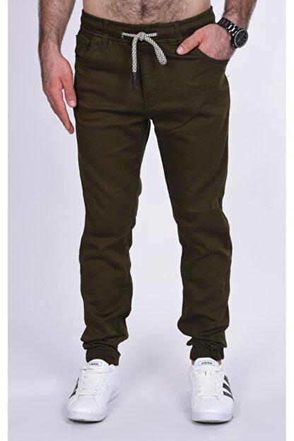 BLACK STEEL Erkek Yeşili Renk Beli Ve Paçası Lastikli Kargo Cepsiz Nefti  Pantolon-1453