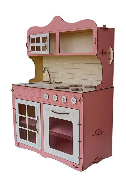 ALFAGAMA Mini Ahşap Çocuk Oyun Mutfağı Tezgah Dolap Seti Evcilik Oyunu Oyuncak Pembe Mutfak 65 cm