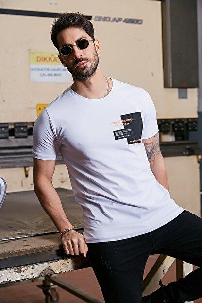Sateen Men Erkek Beyaz Yazı Işlemeli T-Shirt