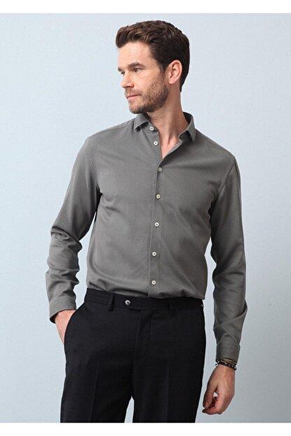 Ramsey Erkek Haki Dokuma Uzun Kollu Gömlek