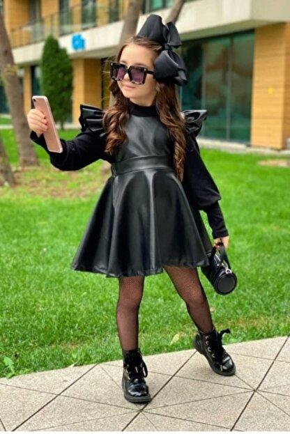 Lolababy Kız Çocuk Siyah Deri Elbise Kombin