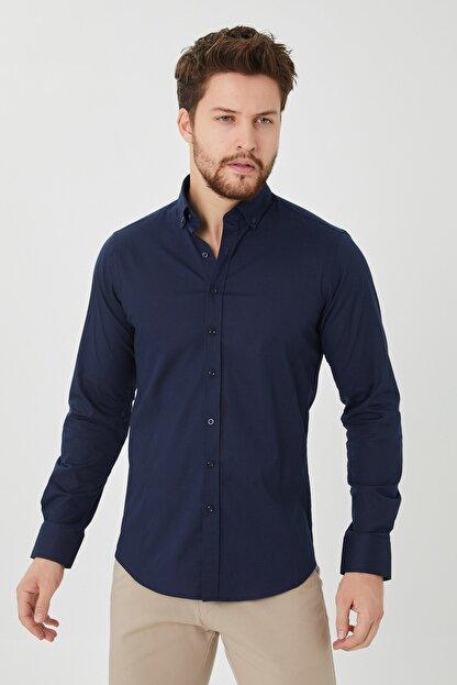 Cosmen Erkek Lacivert Slim Fit Poplin Likralı Gömlek