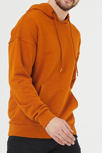 XHAN Turuncu Kanguru Cepli Kapüşonlu Sweatshirt 1kxe8-44398-11