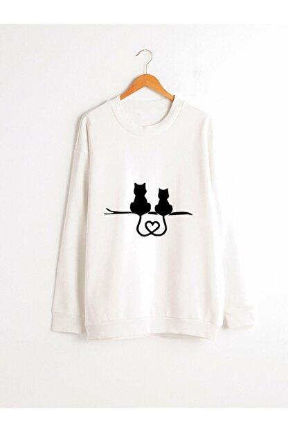 Dizzy Unisex Beyaz Baskılı Sweatshirt