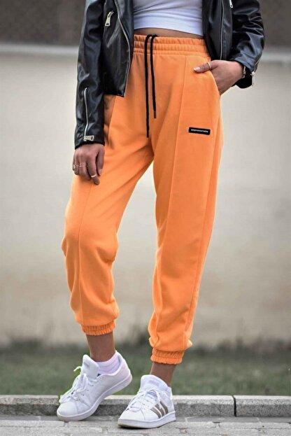 Madmext Kadın Turuncu Neon Jogger Eşofman Mg303