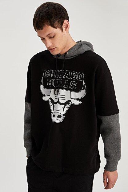 Defacto Fit Erkek Siyah Fit Kapüşonlu Sweatshirt